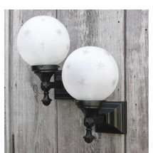 L16063 - Pair of Vintage Cast Iron Colonial Revival Sconces with Antique Etched Globes