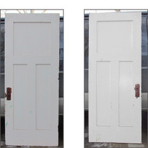 "D16022 - Single Antique Painted Birch Three Panel Door 32"" x 78-3/4"""