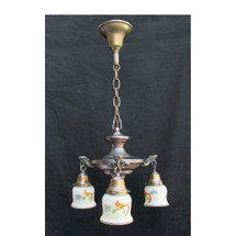 L16070 - Antique Colonial Revival Brass 3 Light Hanging Pan Fixture