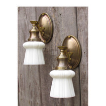 L16073 - Pair of Antique Colonial Revival Brass Sconces