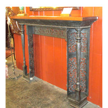 M16006 - Elaborate Antique Victorian Cast Iron Half Mantel with Oak Top