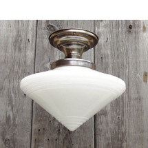 L16089 - Antique Art Deco Schoolhouse Variant Flush Mount Fixture