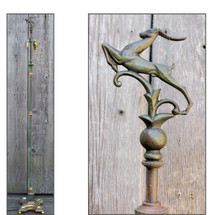 L16092 - Antique Patinated & Gilded Brass Art Deco Floor Lamp