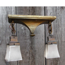 L16099 - Antique Arts and Crafts Two Light Semi-Flush Mount Fixture
