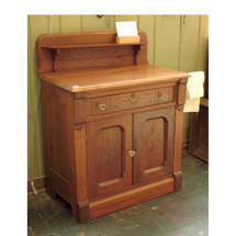 F16052 - Antique Carved Walnut Single Door Washstand