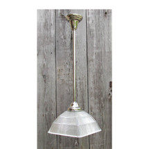 L16116 - Antique Square Stepped Holophane Shade on Nickel Pendant Fixture