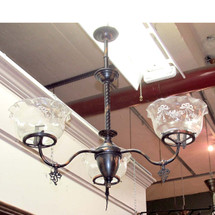 L16126 - Antique Late Victorian Gas Hanging Fixture