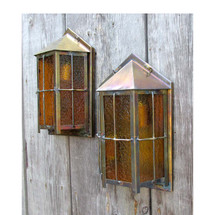 L16132 - Pair of Antique Craftsman/Tudor Exterior Lantern Sconces