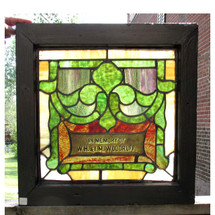 G16028 - Antique Art Nouveau Stained Glass Window with Plaque