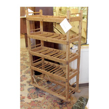 F16085 - Antique Early Twentieth Century Oak Merchandise Rack on Casters