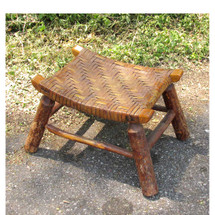 F16091 - Antique Arts and Crafts Log Construction Ottoman/Stool