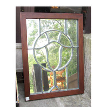 G13031 - Antique Arts and Crafts Beveled Window with Mirrored Back