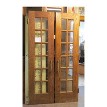 "D16063 - Pair of Vintage Interior/Exterior Oak French Doors 48"" x 87"""