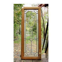 G16037 - Antique Colonial Revival Beveled Glass Cabinet Door