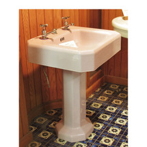 P16006 - Antique Art Deco Lavender Pedestal Sink