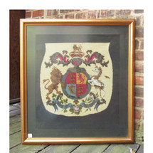 A16058 - Antique Needlepoint Coat of Arms in Frame