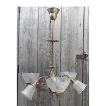 L16161 - Antique Late Victorian Six Arm Hanging Fixture