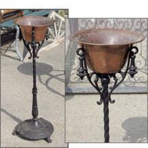 A16061 - Antique Revival Period Cast Iron and Brass Planter
