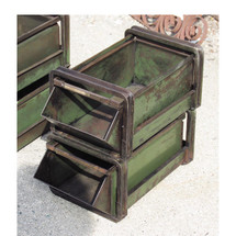 A16062 - Pair of Vintage Industrial Steel Stacking Tray Bins