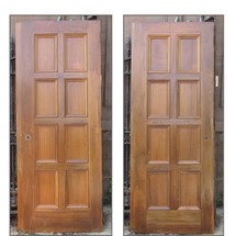 "D16087 - Single Antique Walnut Interior Paneled Door 29-3/4"" x 79-1/4"""