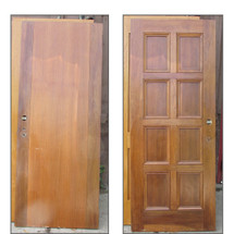 "D16084 - Single Antique Walnut Interior Paneled Door 31-3/4"" x 79-1/4"""