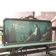 A16063 - Antique Revival Period Overmantel Frame with Religious Print