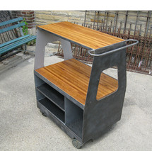 F16130 - Vintage Steel Industrial Rolling Cart With Oak Butcher Block Inserts