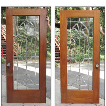 "D16088 - Single Antique Oak Exterior Beveled Glass Full Light Door 34"" x 83"""