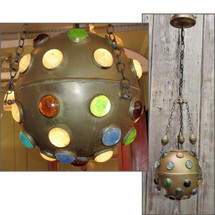 L16172 - Vintage Persian Atomic Spherical Jeweled Pendant Fixture