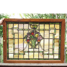 G16043 - Antique Stained Glass Window with Flower Basket