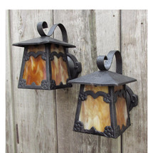 L16175 - Pair of Antique Revival Period Exterior Lantern Sconces