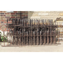 "S16025A - Antique Victorian Cast Iron & Wrought Iron 3 Rail Fencing - 37"" length"