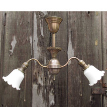 L16182 - Antique Colonial Revival Two Arm Hanging Fixture