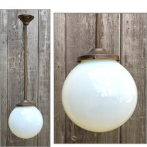 L16184 - Custom Pendant Fixture with Antique Vaseline Glass Globe