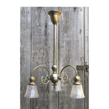 L16188 - Antique Colonial Revival Three Arm Brass Fixture