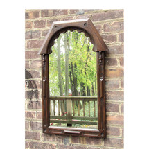 A16083 - Antique Carved Oak Tudor Style Mirror
