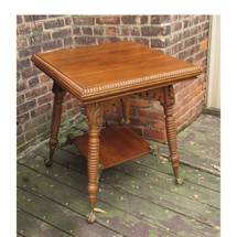 F16154- Antique Quartersawn Oak and Brass Lamp Table