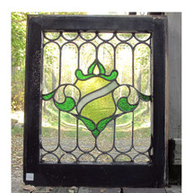 "G16061 - Antique Tudor Style Stained and Clear Glass ""Shield"" Window"