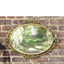 A16091 - Antique Oval Colonial Revival Style Brass Mirror