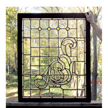 G16063 - Late Victorian Beveled, Textured and Jeweled Glass Window
