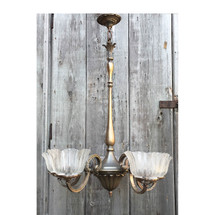 L16203 - Antique Five Arm Brass Victorian Fixture With Antique Shades