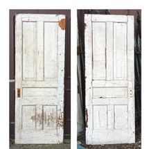 "D16135 - Single Antique Pine Five Traditional Panel Interior Door 32"" x 83-3/4"""