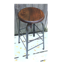F16163 - Vintage Industrial Stool with Ash Seat