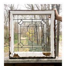 G16071 - Antique Tudor Revival Style Leaded Glass Window