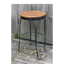 F16172 - Antique Oak and Wrought Iron Stool