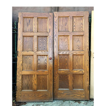 "D16158 - Pair of Antique Oak Interior Paneled French Doors 64"" x 79-3/4"""