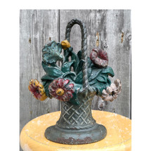 A16100 - Antique Hubley Cast Iron Flower Basket Door Stop