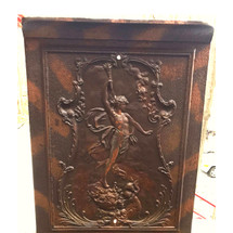 M16018 - Antique Neoclassical Copper Flashed Cast Iron Fireplace Cover