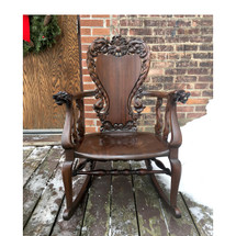 F16192 - Antique Carved Ribbon Stripe Mahogany Rocking Chair