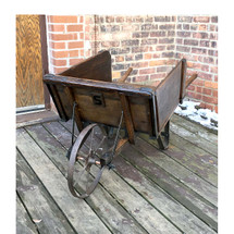 A16108 - Antique Primitive Oak Wheelbarrow